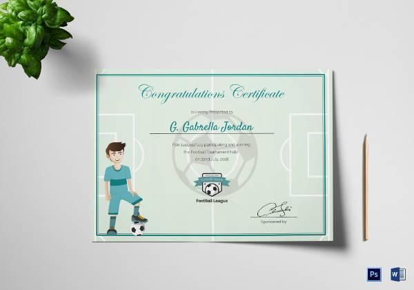 sports award winning congratulation certificate