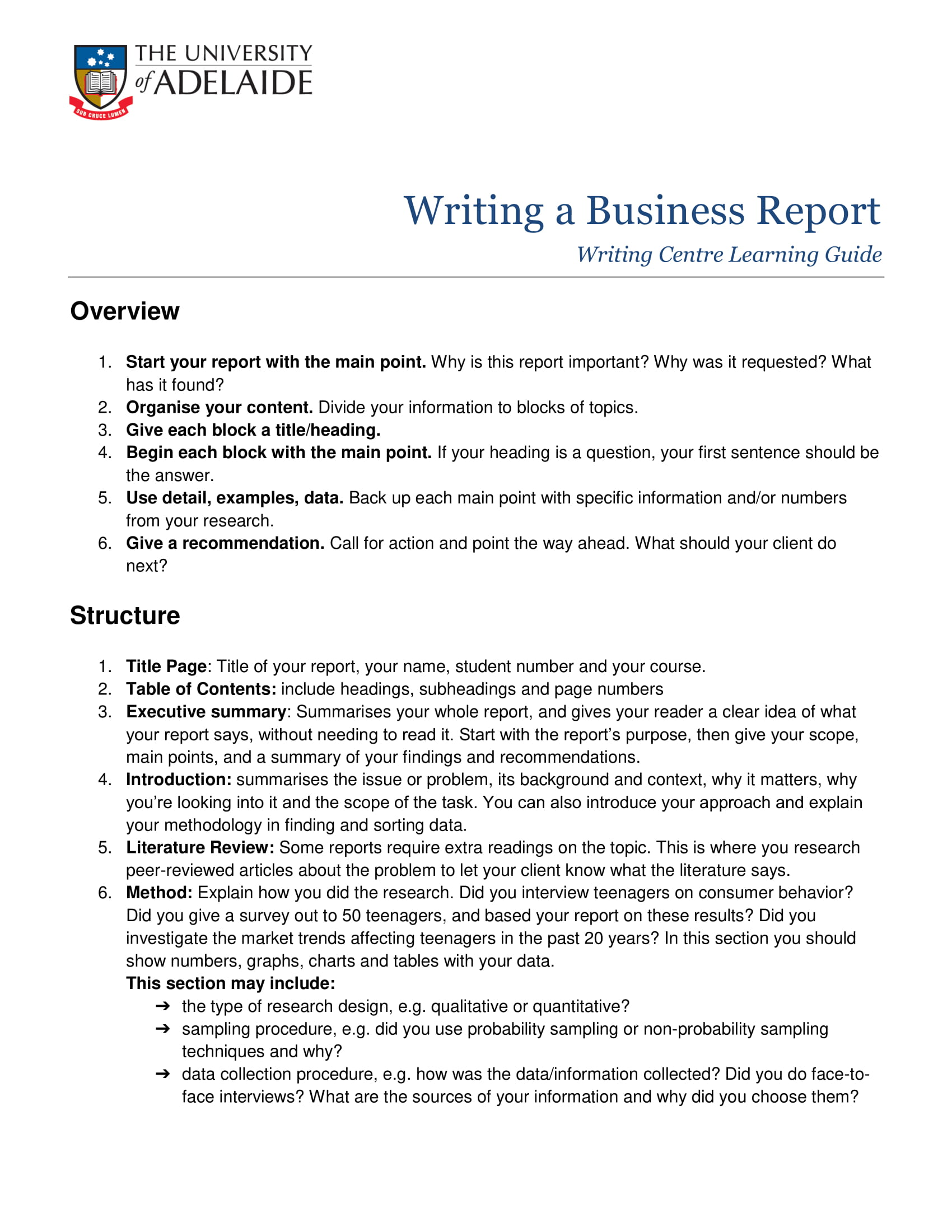 standard business report structure example 1