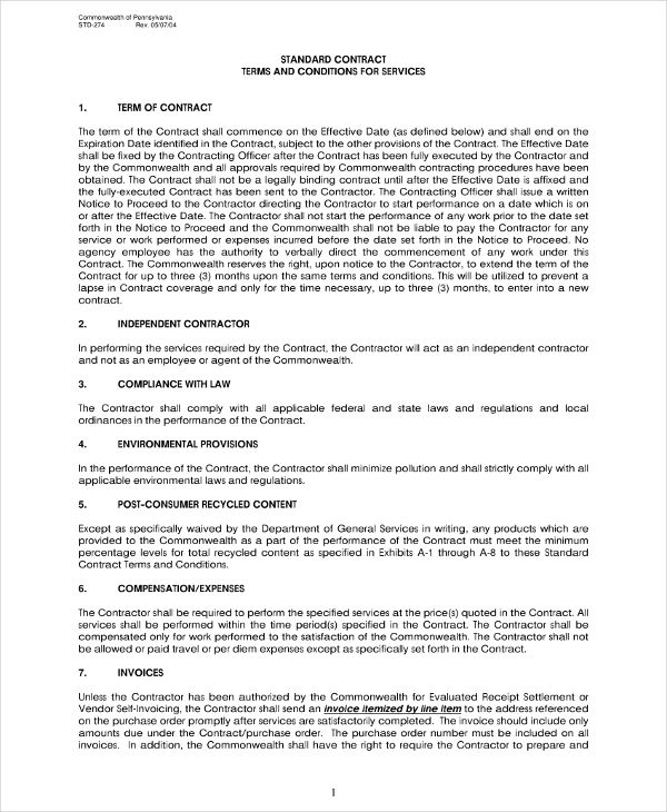 standard independent contractor agreement example