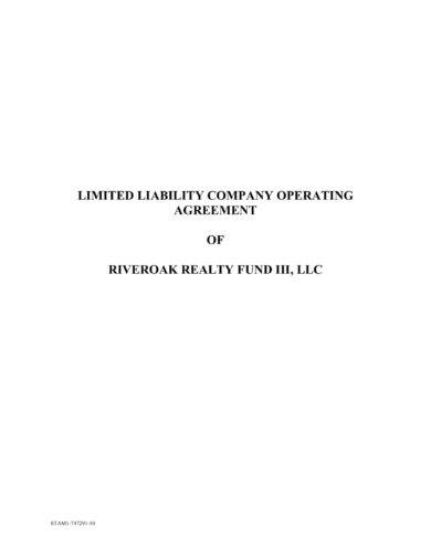 standard limited liability company operating agreement example