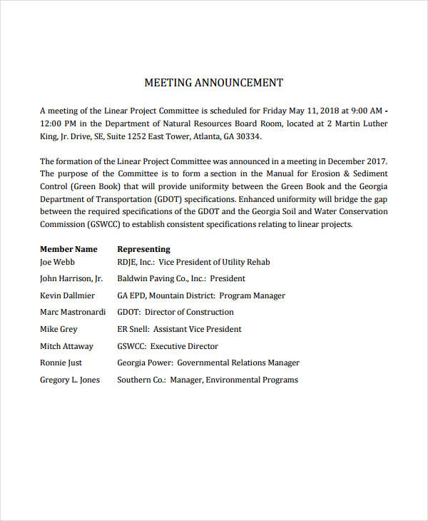 standard meeting announcement
