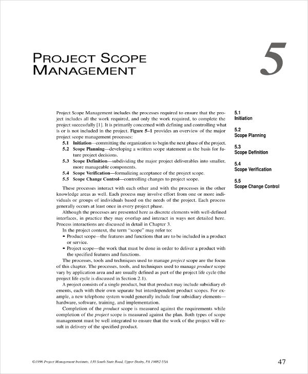 standard project scope management plan example