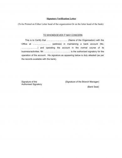 9  signature verification letter examples