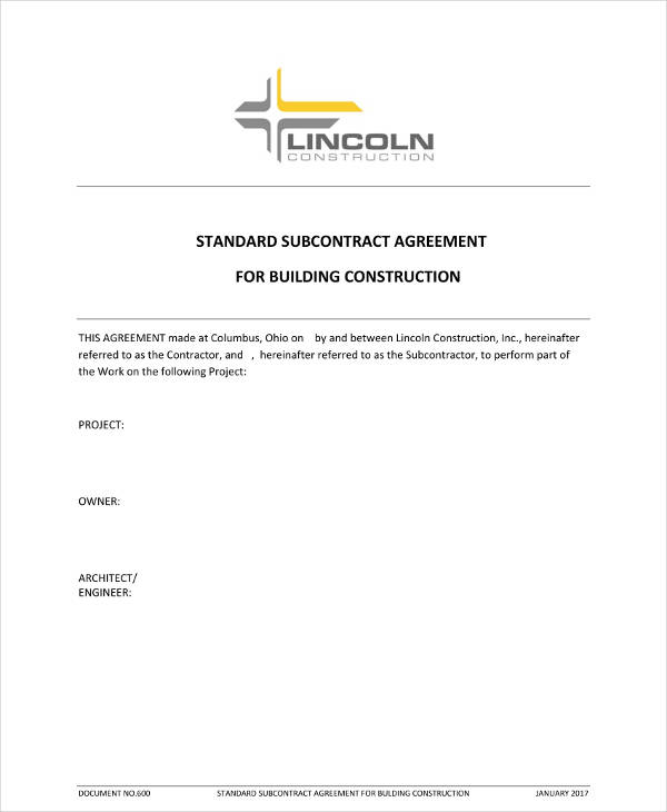 standard subcontract agreement for building construction example