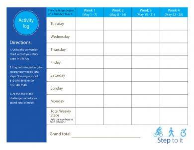 step to it activity log example1