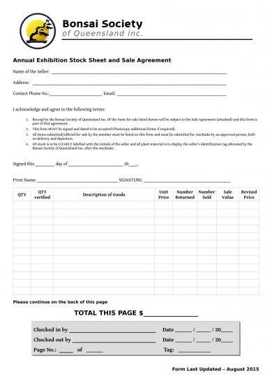 stock sheet and sale agreement example1