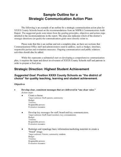 strategic communication action plan outline example