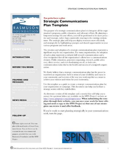 strategic communication plan template example