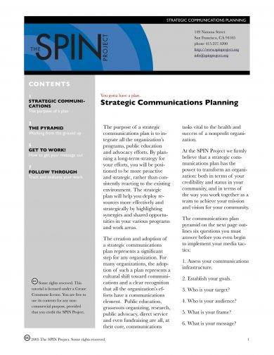 strategic communications planning guidelines example