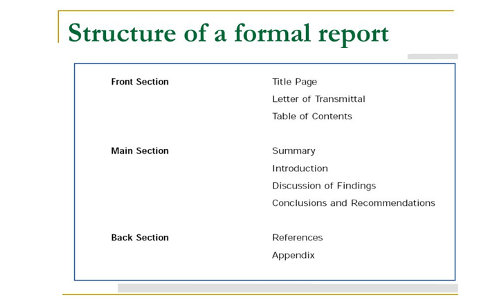 structure of a formal report example