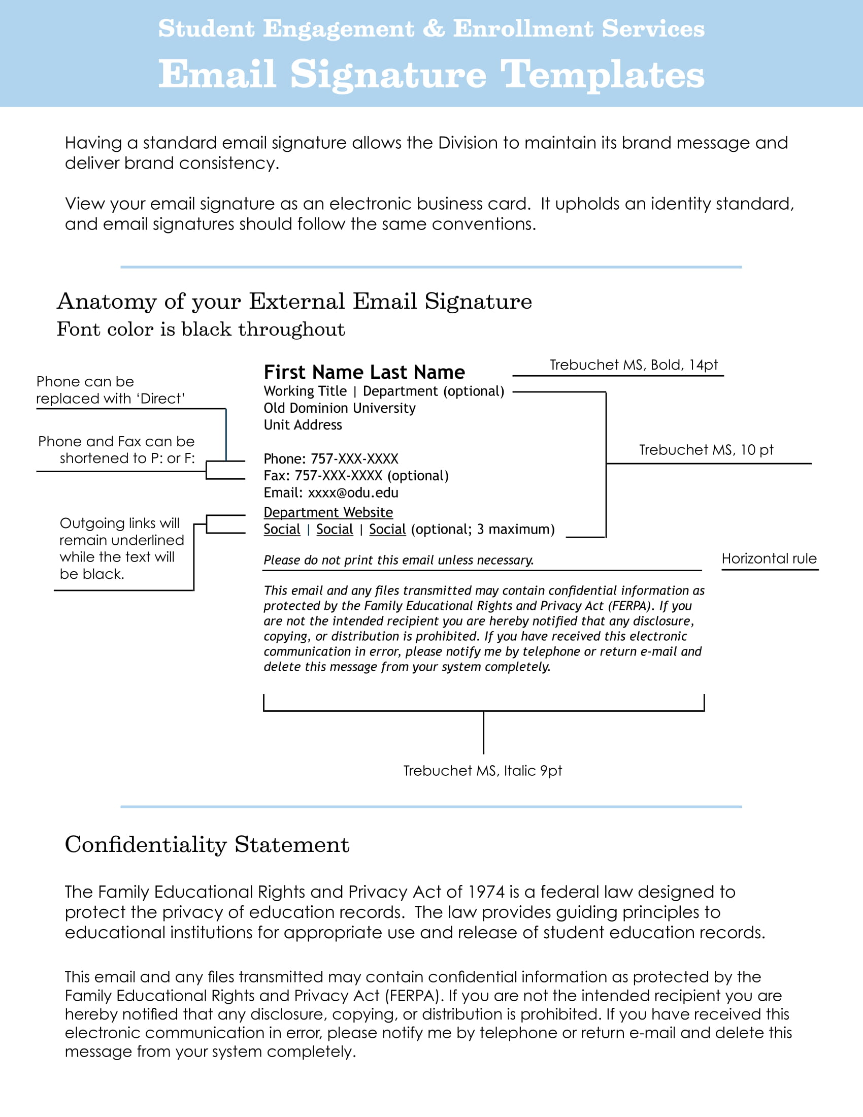student engagement and enrollment services email signature template example 1