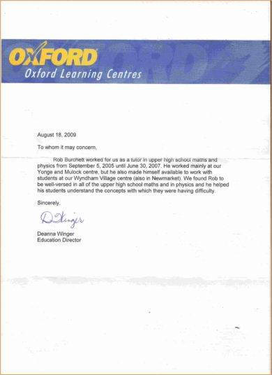 Oxford Recommendation Letter Sample Tutore Org