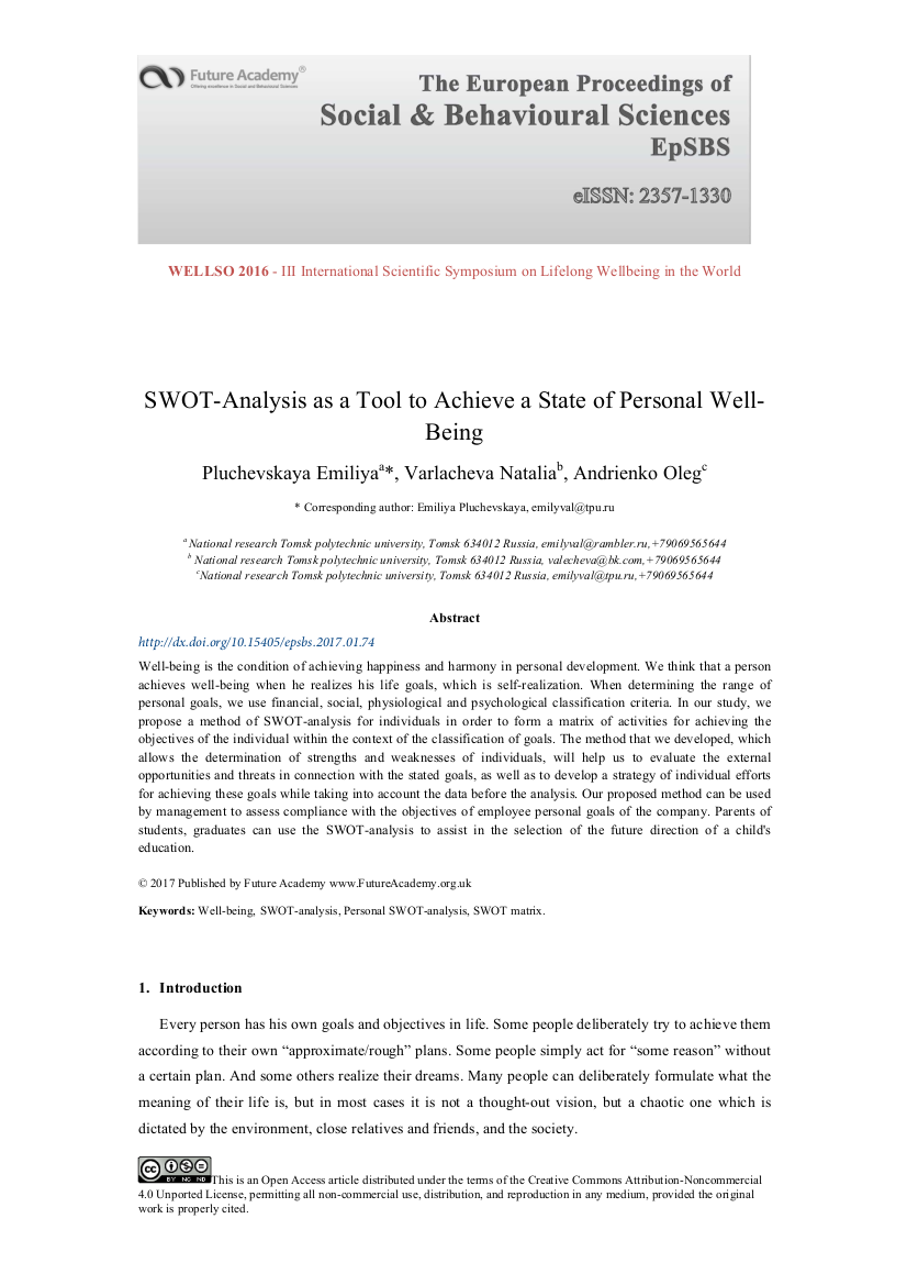 study about personal swot analysis example