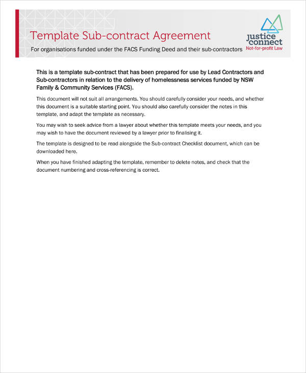 subcontract agreement template example