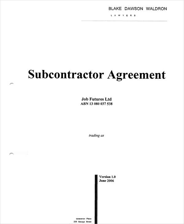 subcontractor agreement example