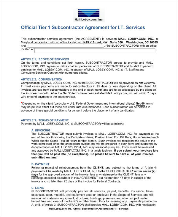 subcontractor agreement for it services example