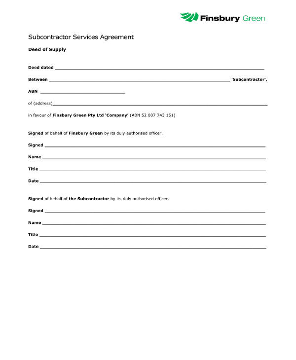 subcontractor services agreement example
