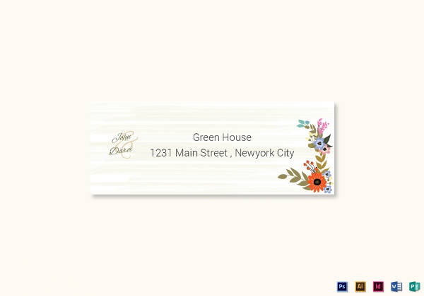 summer floral wedding address label card example