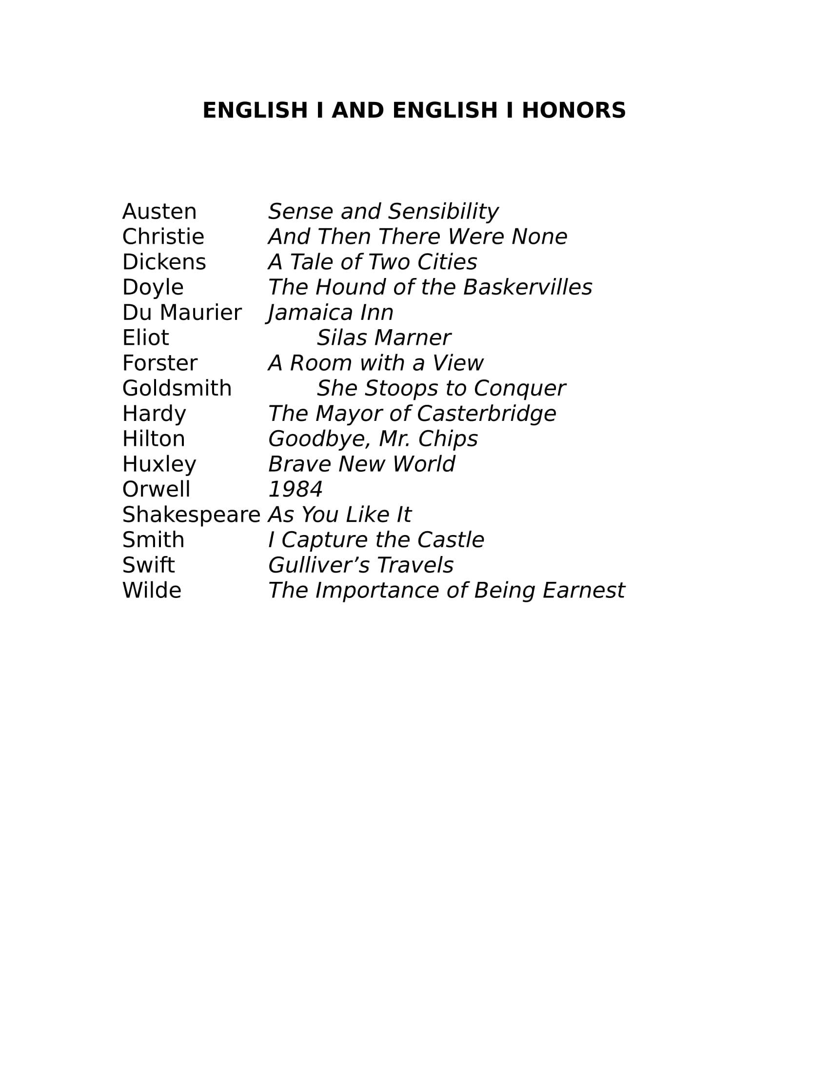 summer reading list example