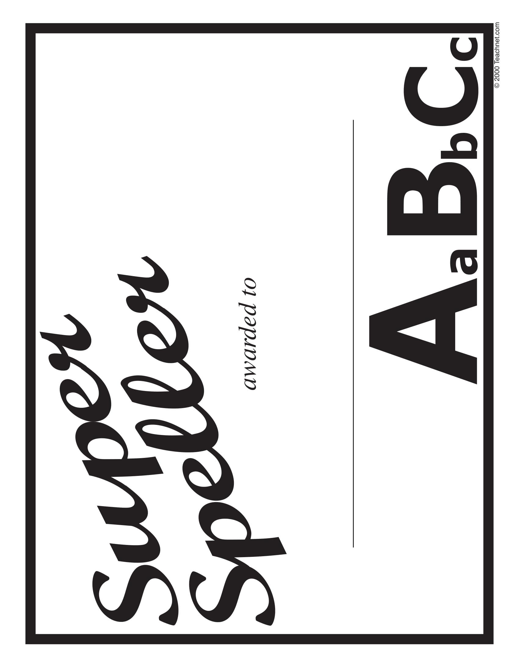 super speller blank award certificate example