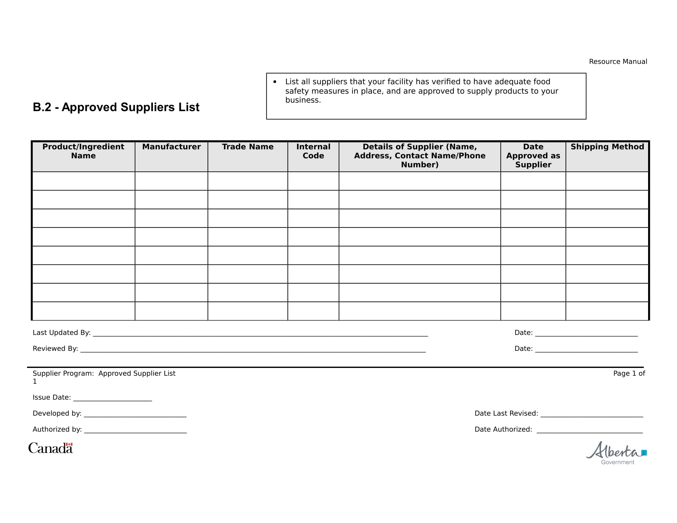 suppliers list example