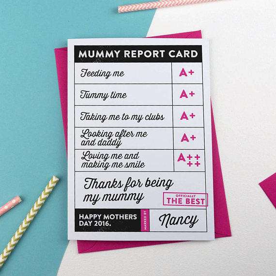 sweet mothers day report card example
