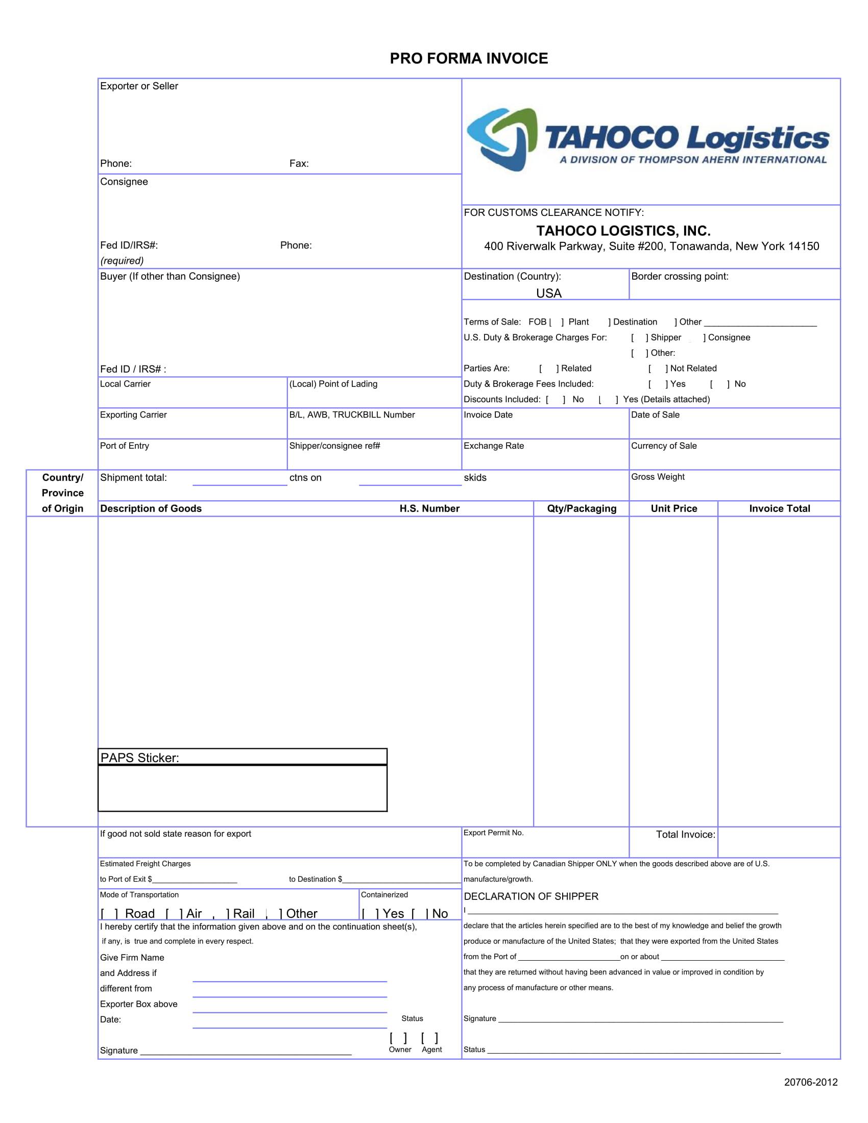 tahoco pro forma invoice example
