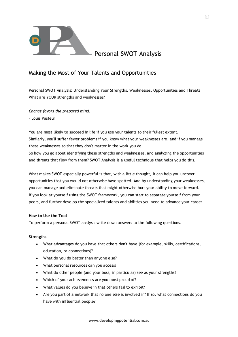 6  personal swot analysis in pdf