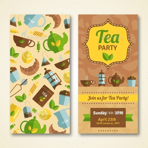 tea party announcement vertical banners example