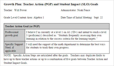 teacher action plan goals example