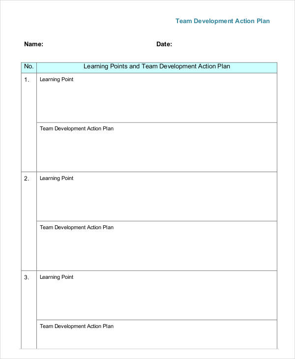 team development action plan example