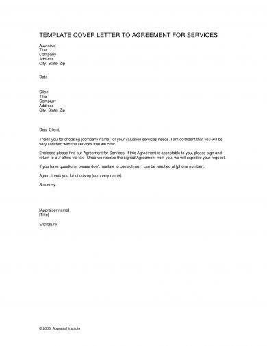 template cover letter to agreement for services