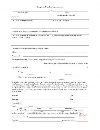 temporary guardianship agreement letter example