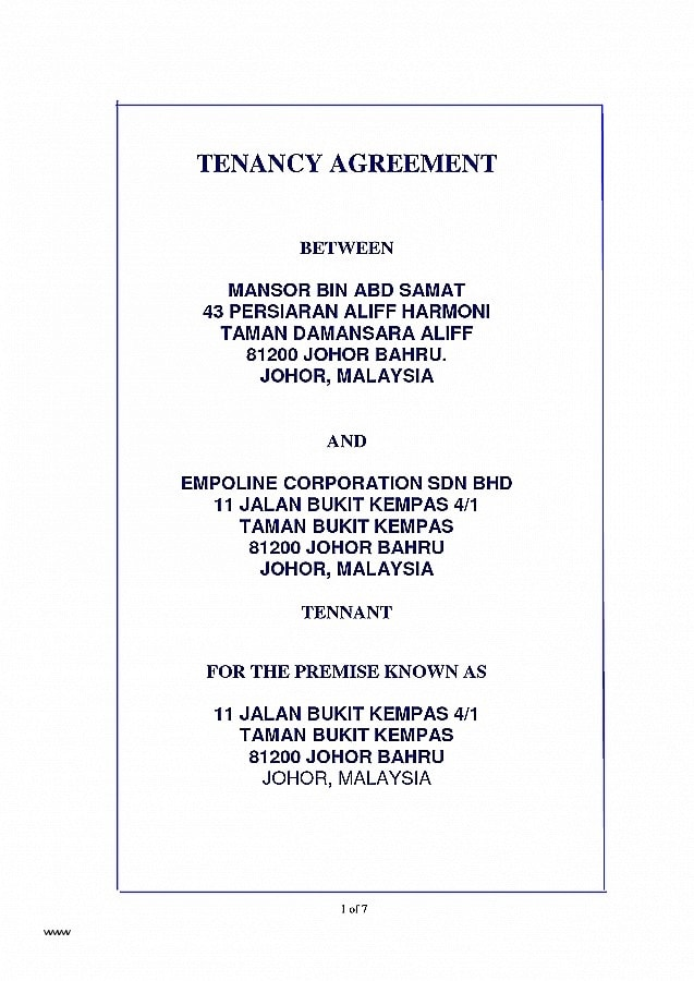 tenancy agreement cover example