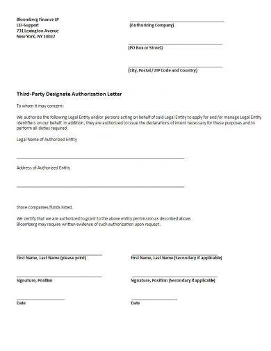 third party designate authorization letter example1