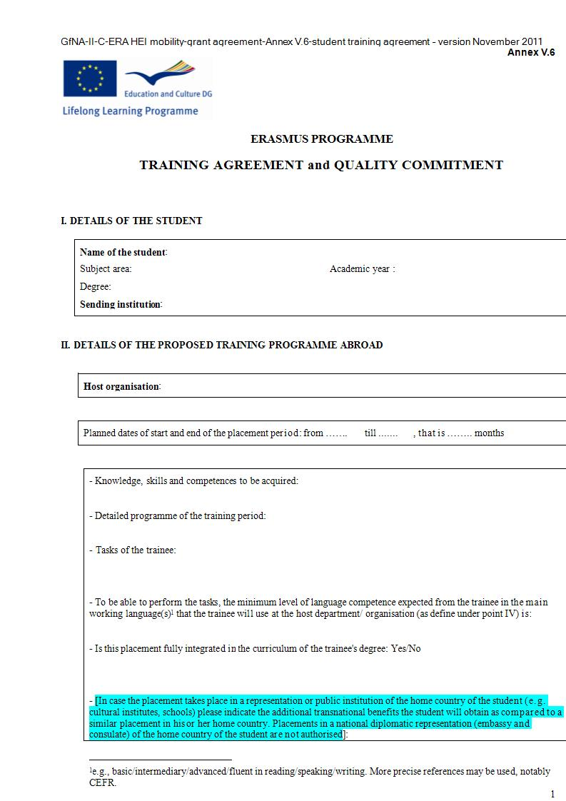 training agreement example