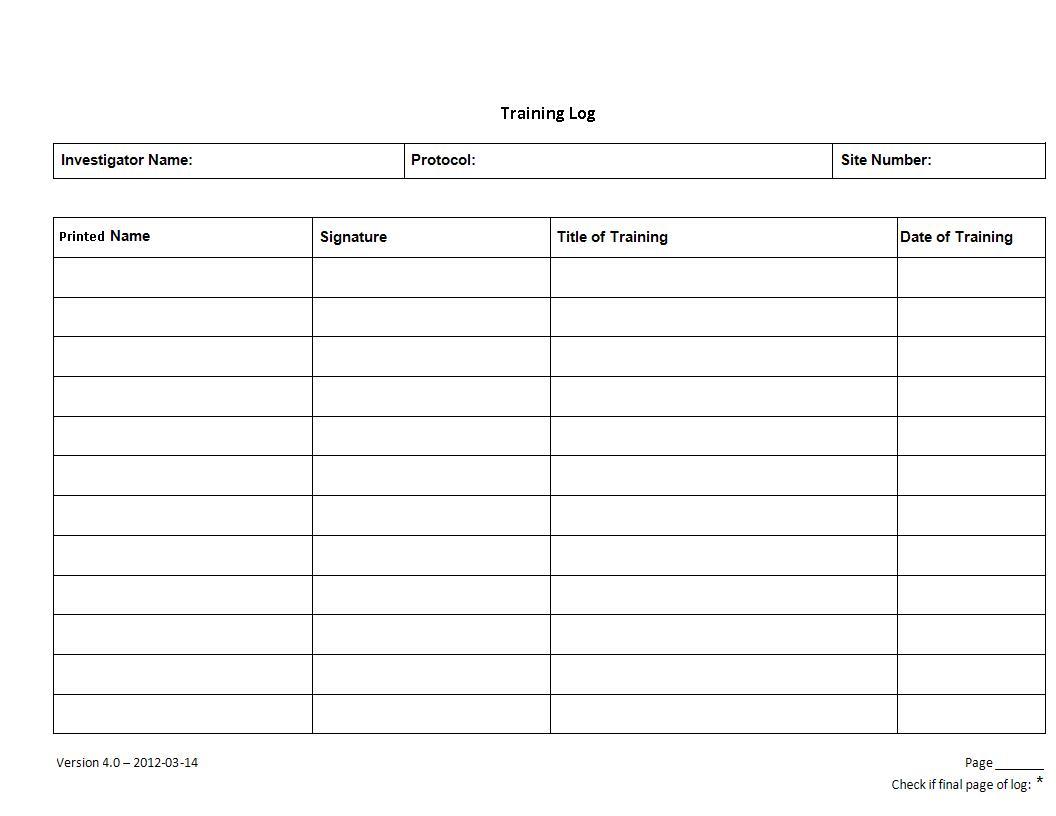 training log example