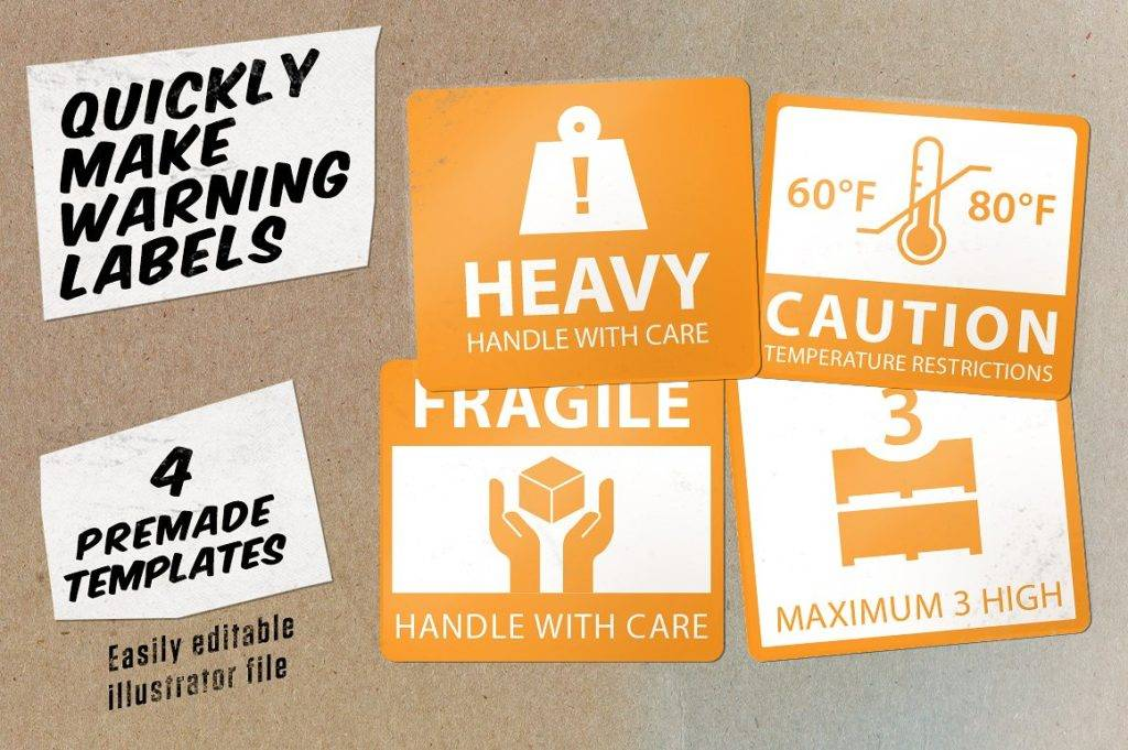 travel wise shipping labels icon set example