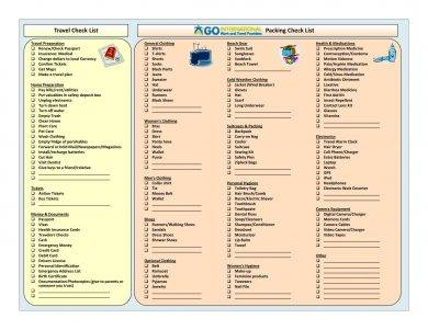 travel and packing checklist template example