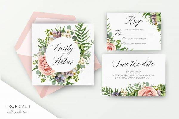 tropical wedding label collection example1