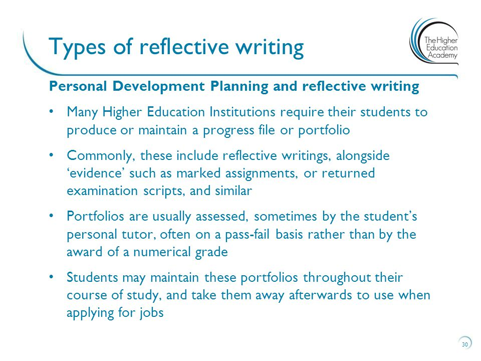 types of reflective writing