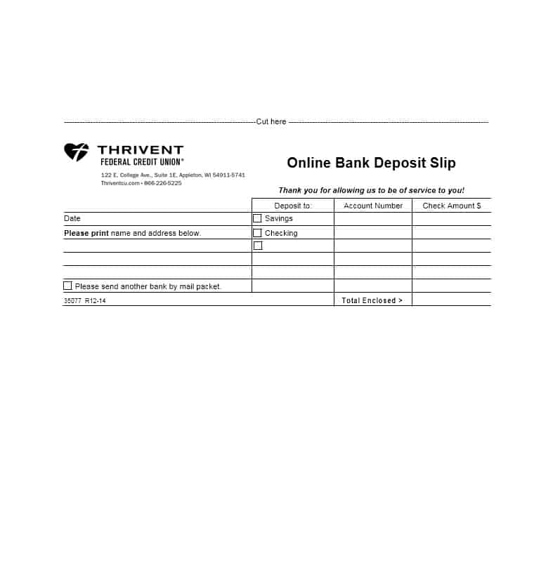 typical deposit slip example
