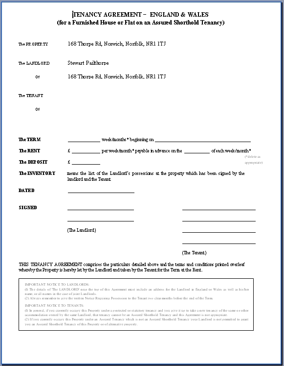 uk tenancy agreement example