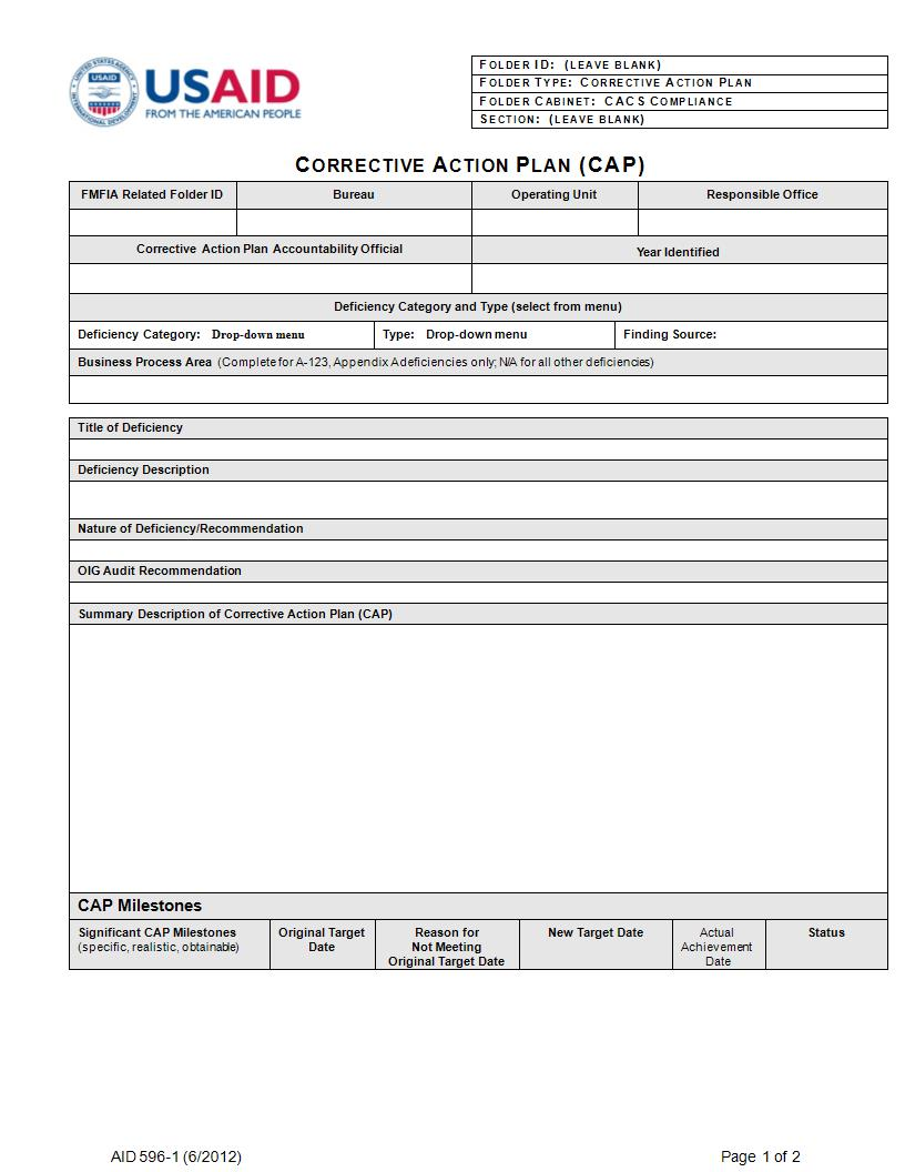 usaid corrective action plan example