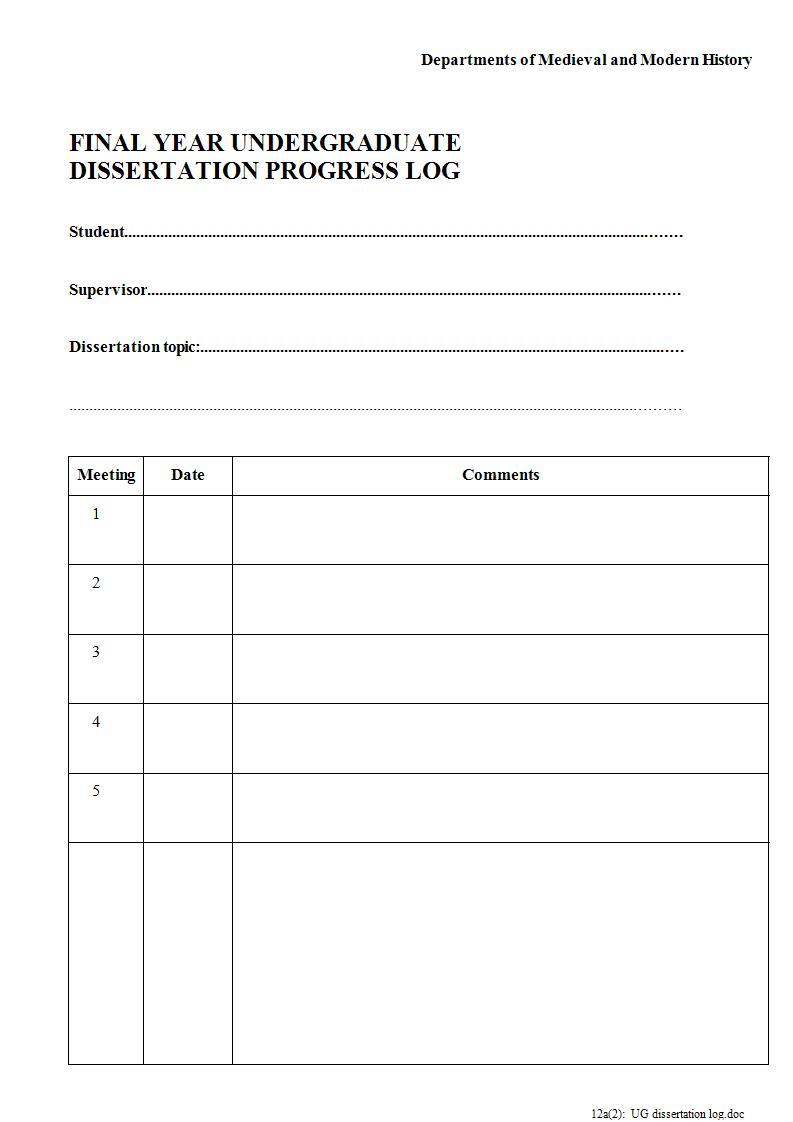 undergraduate dissertation progress log example