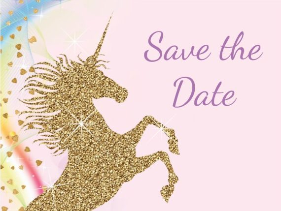 unicorn birthday save the date design example e1528867690821