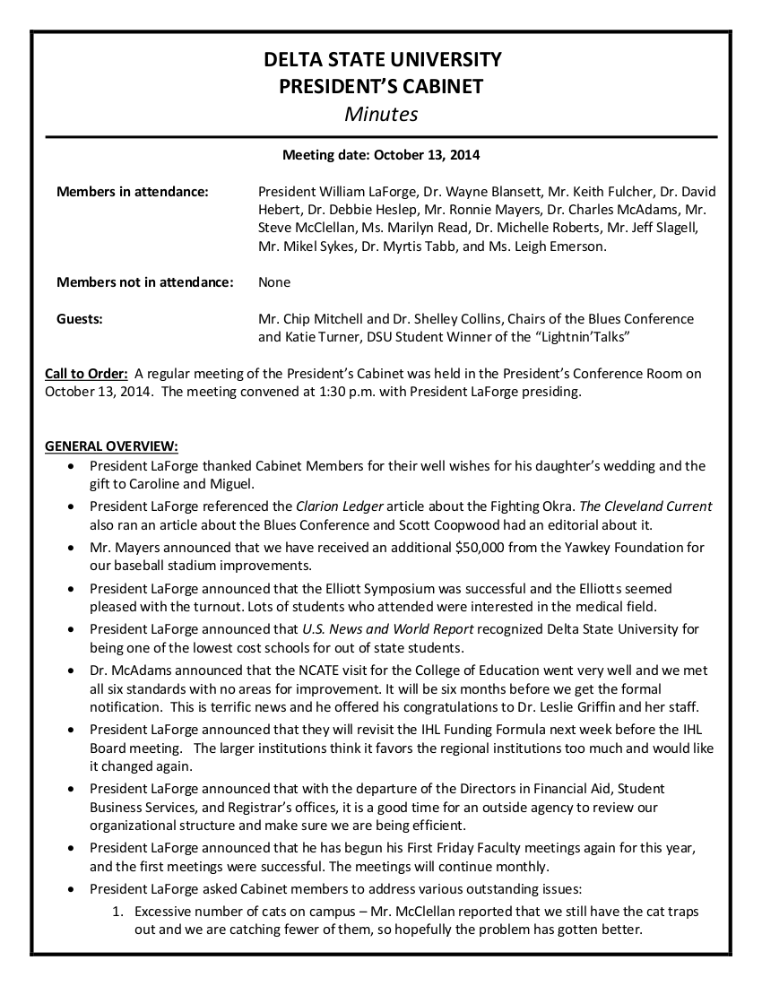 university cabinet minutes of the meeting example