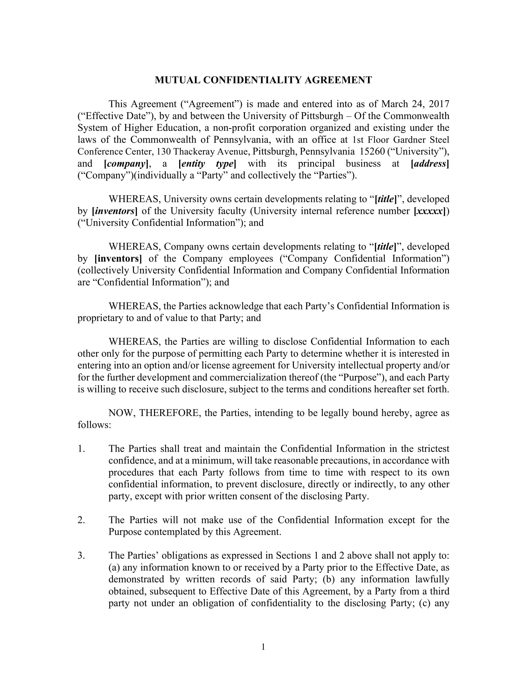 university mutual confidentiality agreement example