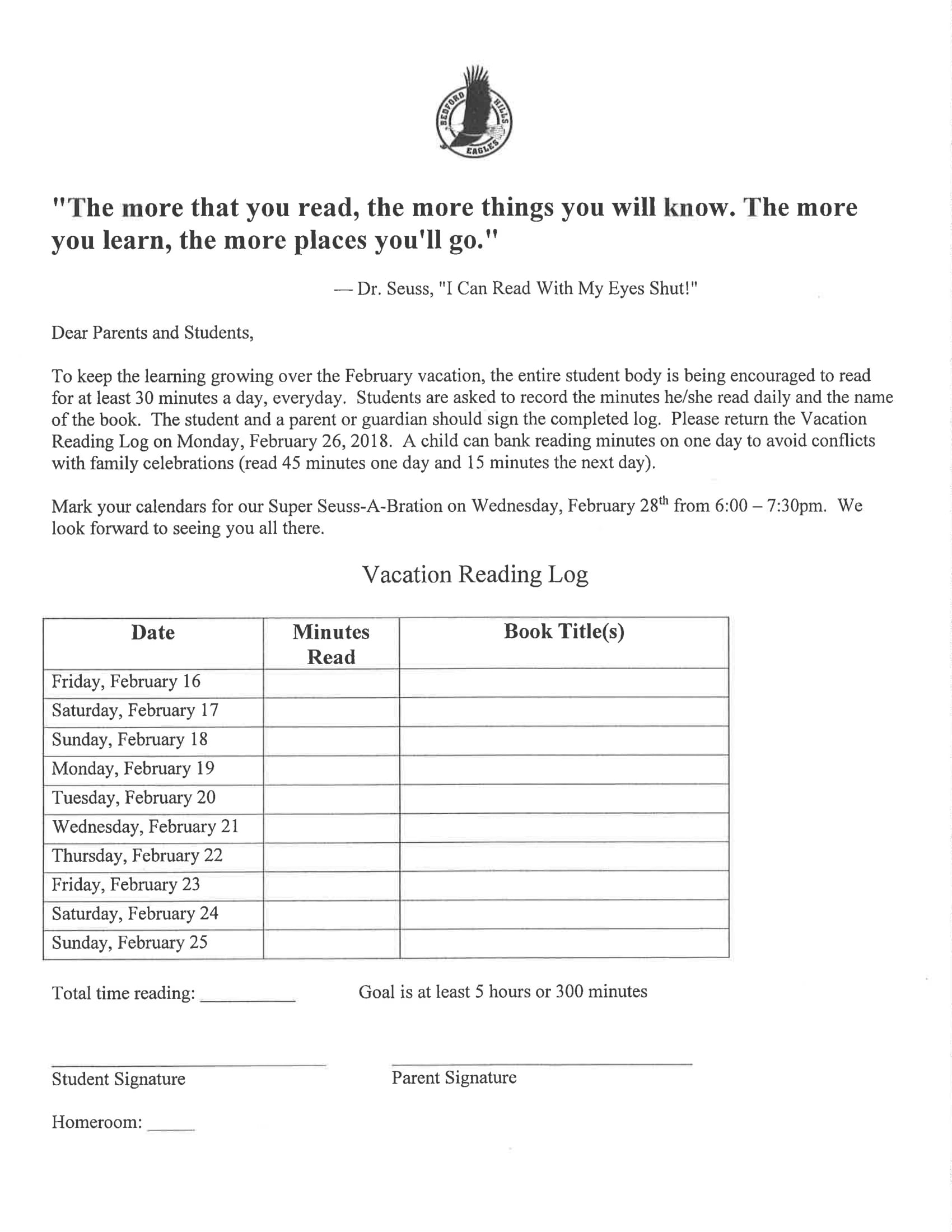 vacation reading log for kids example