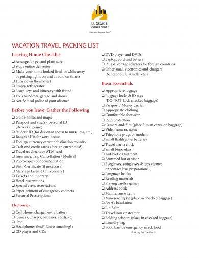 vacation travel packing list template example